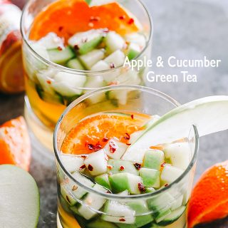 Apple Cucumber Green Tea - Sweet and refreshing morning drink prepared with apples, cucumbers, chilled green tea and exotic spices.