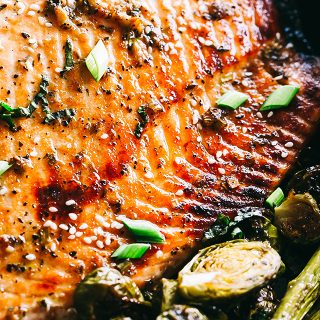 Ginger Glazed Salmon with Asparagus and Brussels Sprouts