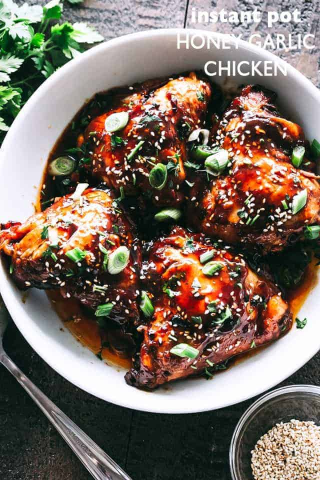 A favorite Instant Pot chicken recipe! Sweet, savory & tender chicken thighs prepared with honey garlic sauce & cooked in an Instant Pot. Dinner in 30 min! #instantpot #instantpotchicken #chickendinner #chickenthighs