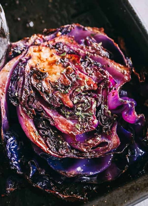 Balsamic Roasted Cabbage Steaks Recipe - Roasted, crispy, and incredibly flavorful cabbage steaks brushed with a sweet and savory balsamic and garlic glaze.