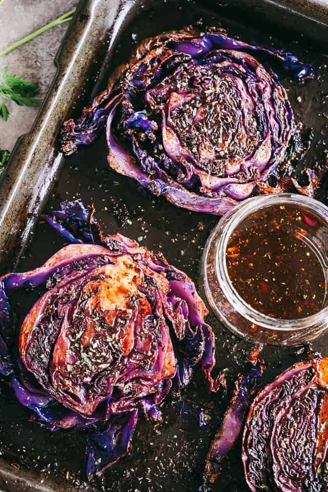 Roasted Cabbage Steaks on sheet pan