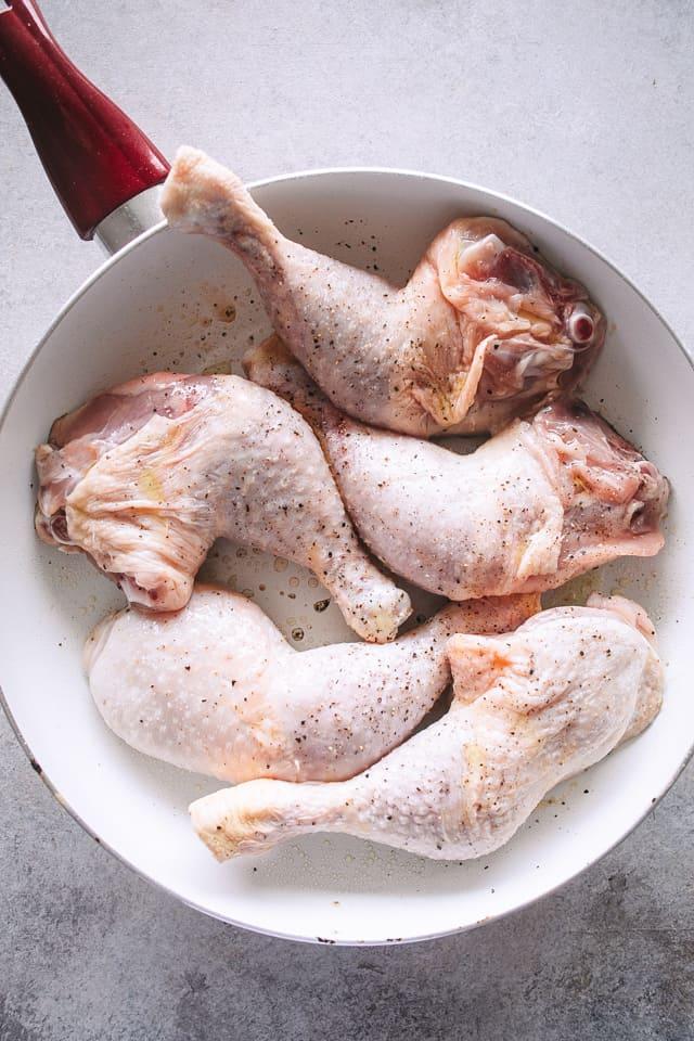Browning chicken legs