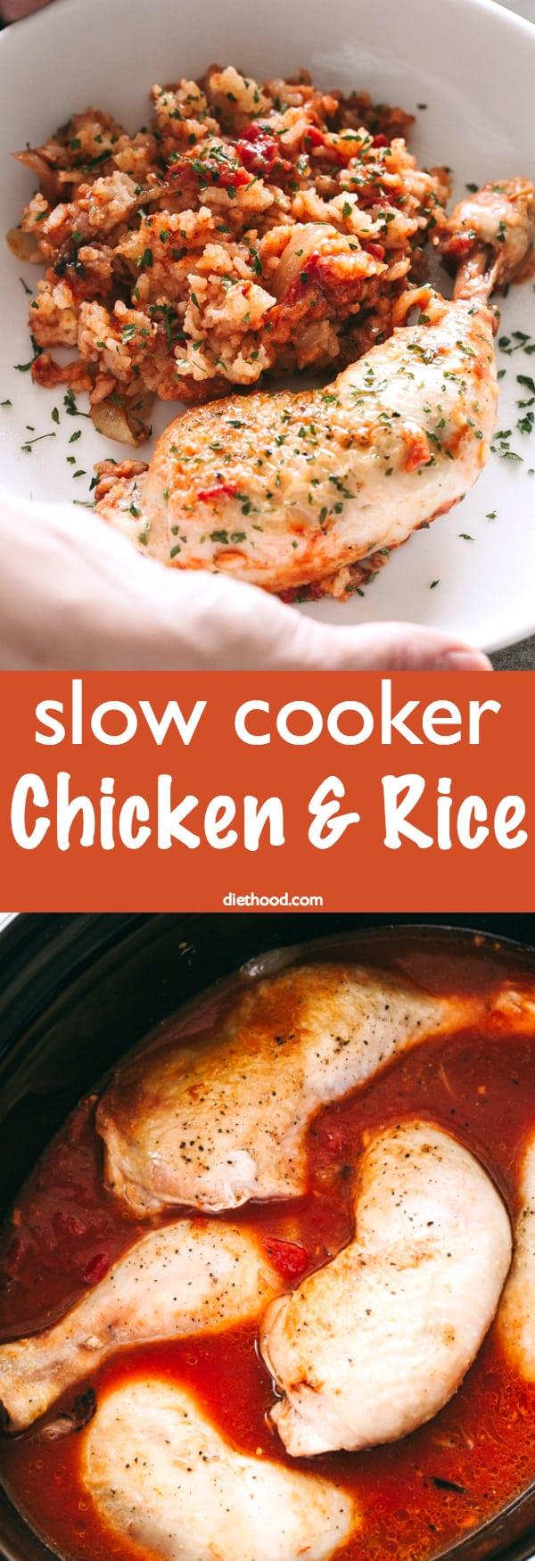 Slow Cooker Chicken and Rice Recipe - Your favorite chicken and rice casserole prepared in the crock pot! Made with brown rice, tomatoes, and chicken, this is a healthy, delicious, and easy slow cooker recipe perfect for those busy weeknights.