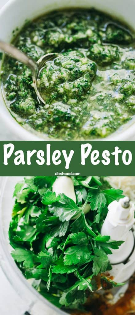 Parsley Pesto Recipe -A delicious twist on basil pesto, this pesto is prepared with parsley, walnuts, and cheese! It's great for pizzas, sandwiches, toppings, even pasta!