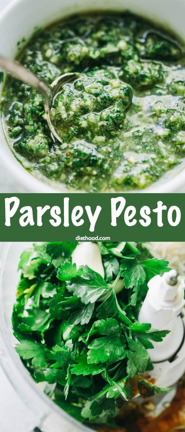 Parsley Pesto Recipe -A delicious twist on pesto prepared with parsley, walnuts, and cheese! It's great for pizzas, sandwiches, toppings, even pasta! #pesto #pastasauce