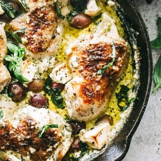 Baked Pesto Chicken with Olives and Feta