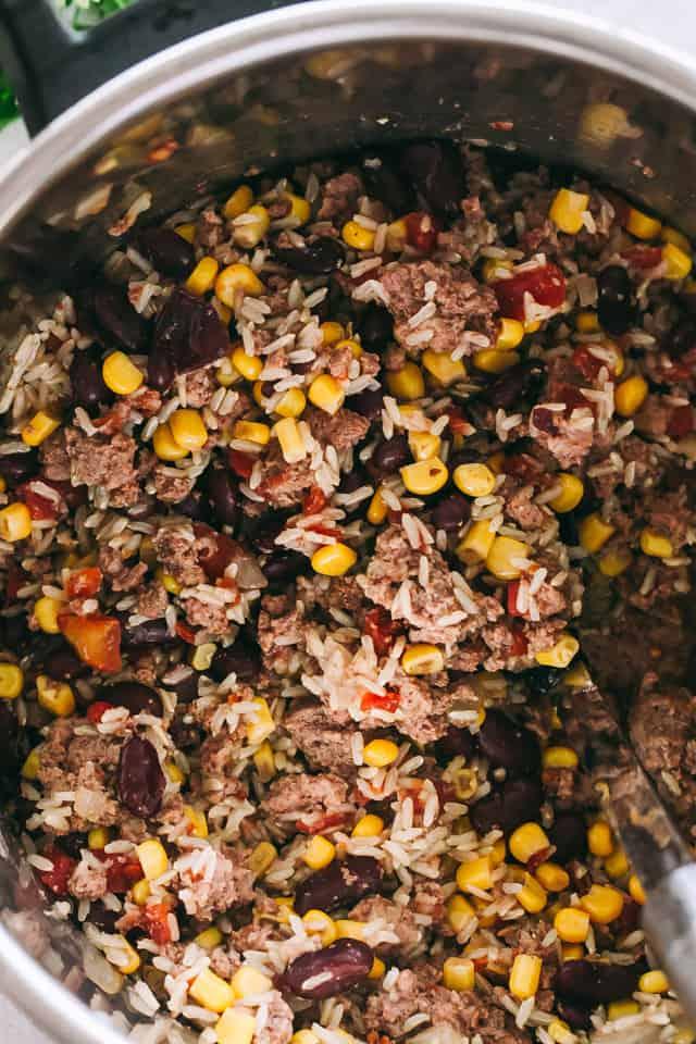 beef burritos, instant pot beef burritos filling, corn, tomatoes