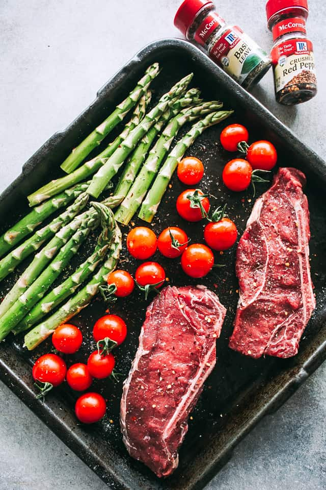 sheet pan steak, vegetables