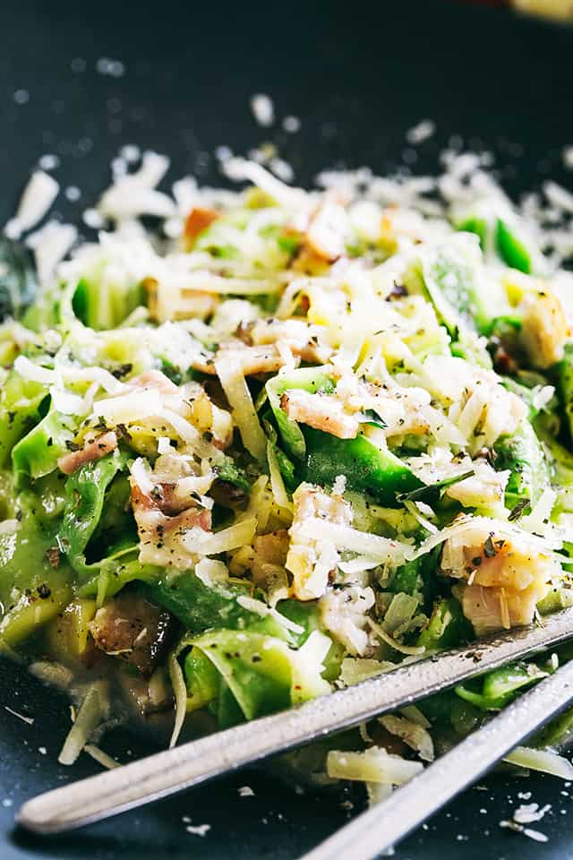 Pasta Carbonara with Zucchini Noodles - Healthy, lightened up version of the classic pasta carbonara prepared with delicious zucchini noodles, pan fried pancetta, and an irresistible creamy parmesan sauce.