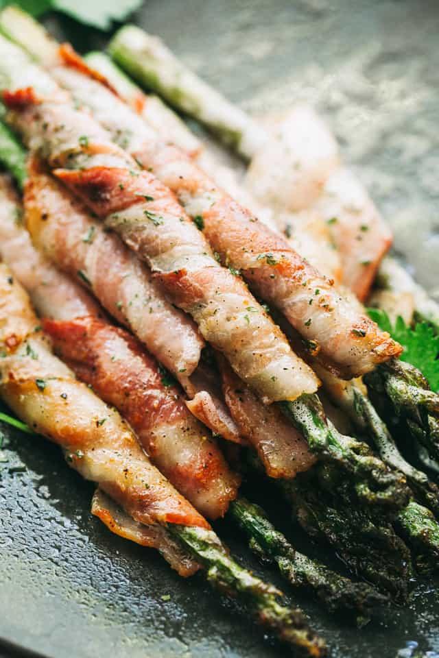 bacon wrapped asparagus, balsamic glaze