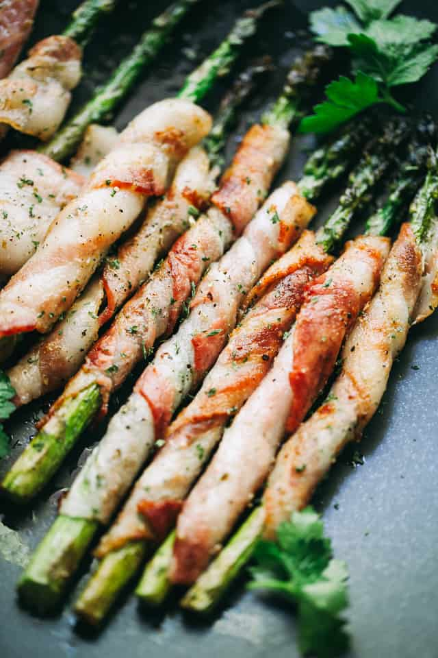 bacon wrapped asparagus, brown sugar glaze, side dish recipes