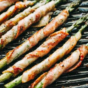 bacon wrapped asparagus, balsamic glaze, side dish, Easter recipes
