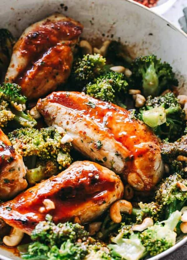 Skillet Catalina Chicken with Broccoli - Delicious, easy and healthy 30-minute skillet chicken with broccoli, smothered in our homemade, sweet and tangy Catalina Dressing.