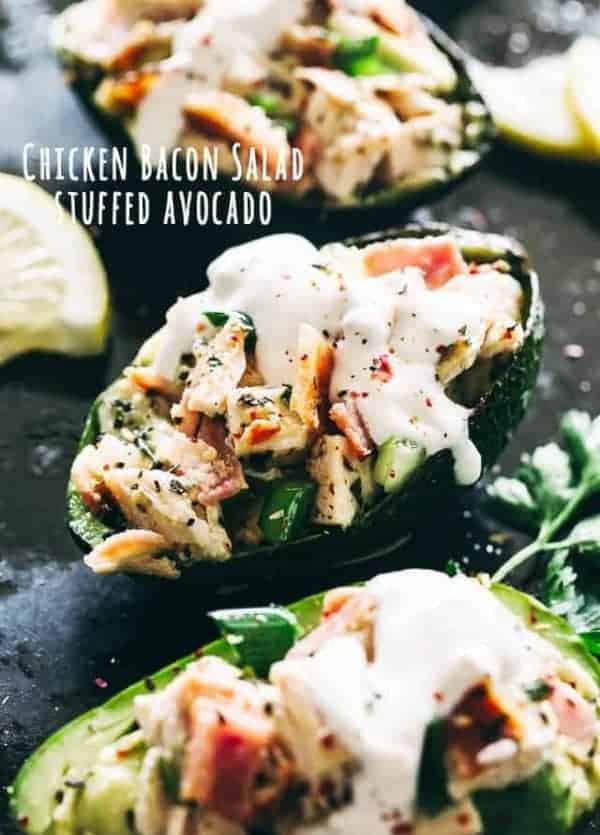 Stuffed Avocados with Chicken Bacon Salad - Quick and healthy stuffed avocados loaded with a delicious chicken, avocado, and bacon salad tossed in a refreshing lemon vinaigrette.