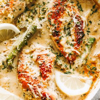 One Skillet Creamy Lemon Chicken with Asparagus