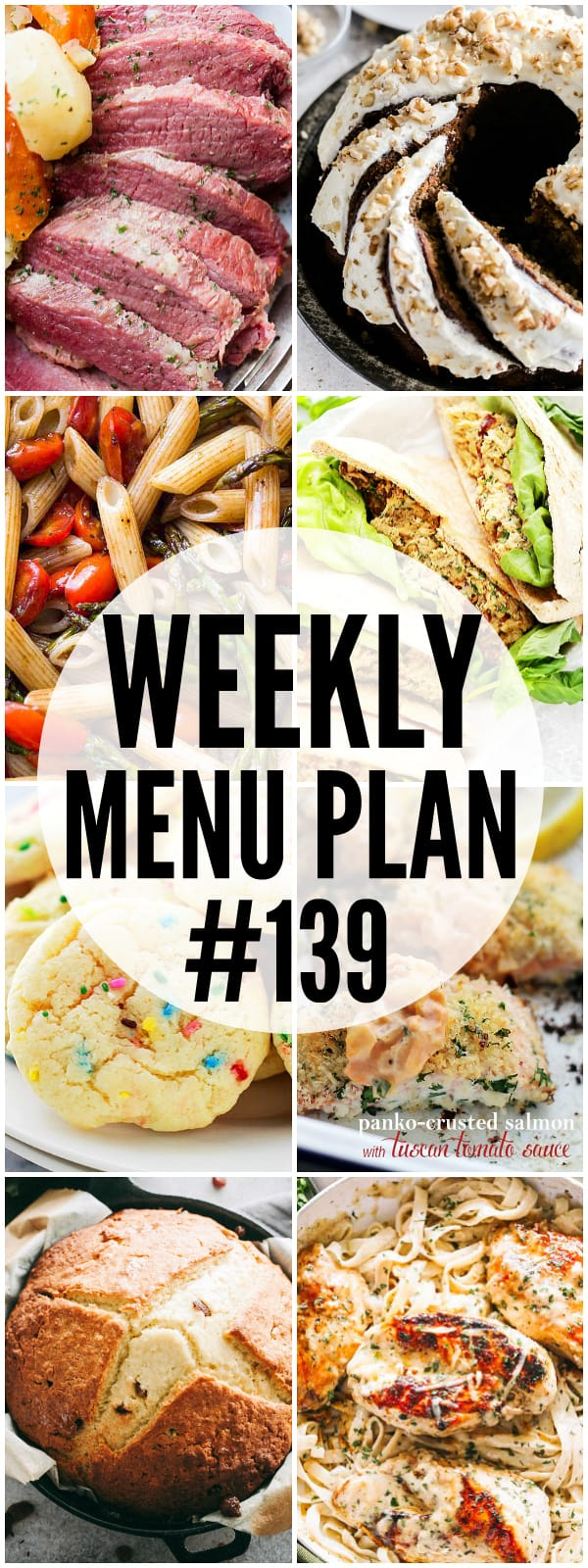 WEEKLY MENU PLAN, dinner recipes, cabbage, corned beef, banana cake, soda bread, tuna salad, pasta