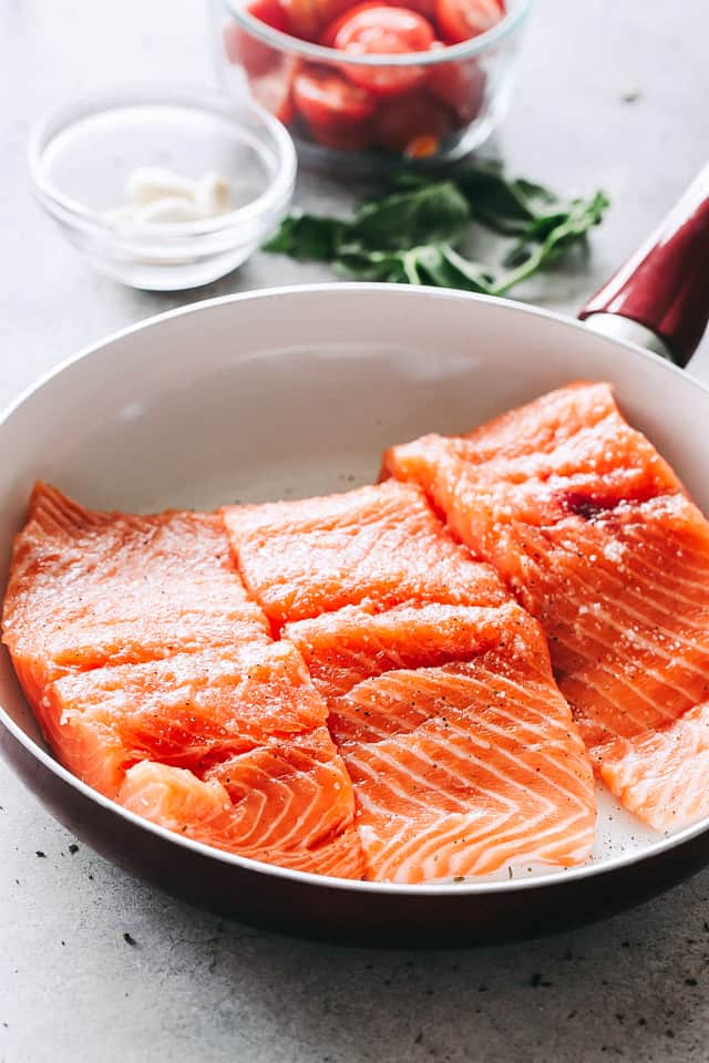 salmon fillets, fish, seafood recipes, cream sauce, pan seared salmon with tomatoes and spinach