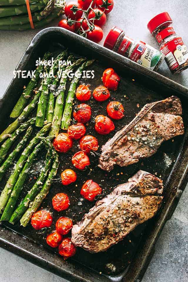 Steak & Veggies Sheet Pan Dinner Recipe | Easy Sirloin Steak Dinner