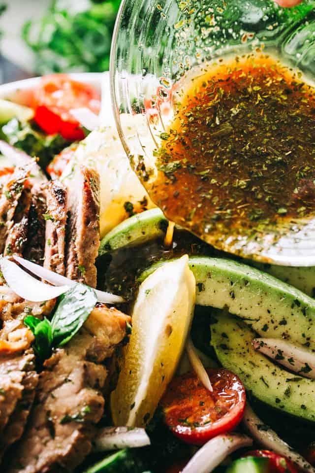 Steak Salad, Dijon Balsamic Dressing, tomatoes, avocado