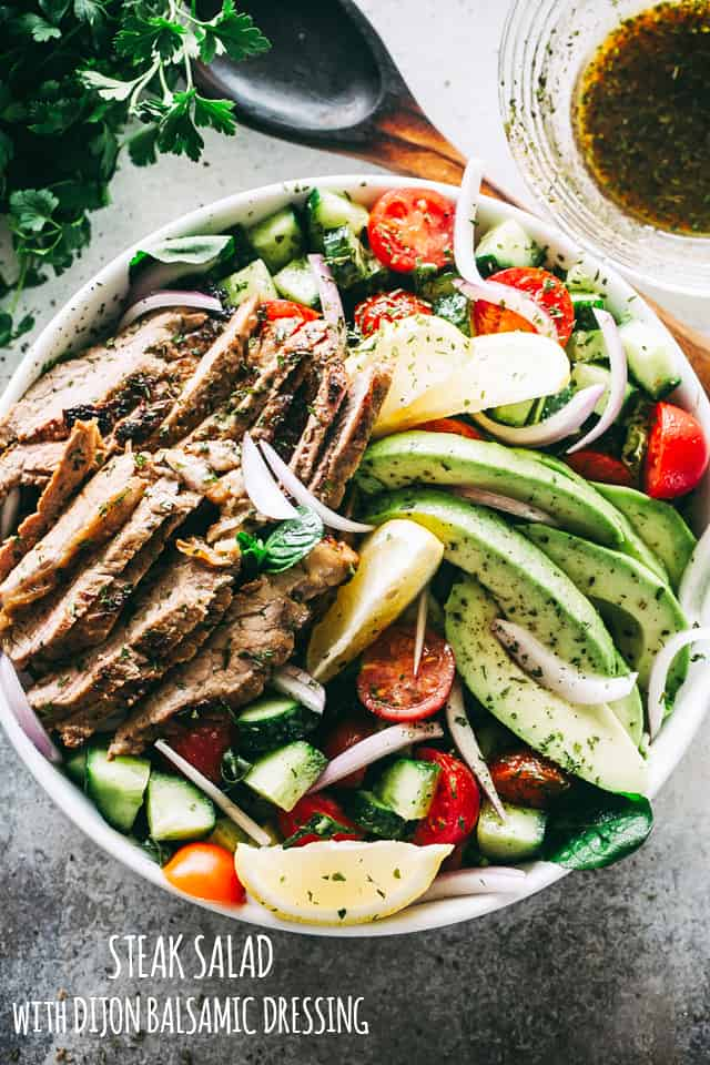 Steak Salad with Dijon Balsamic Dressing - Packed with protein, veggies, and a flavorful Dijon Balsamic Dressing, this Steak Salad is healthy, quick, and incredibly delicious!