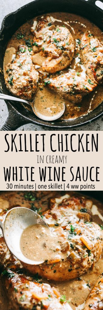 Skillet Chicken in White Wine Sauce -Quick and easyskilletsearedchickentopped with a delicious garlic and onions white wine sauce that's sure to please any crowd!