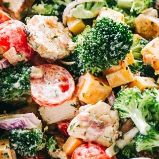 Creamy Broccoli Salad Recipe with Chicken, Bacon, and Cheddar Cheese
