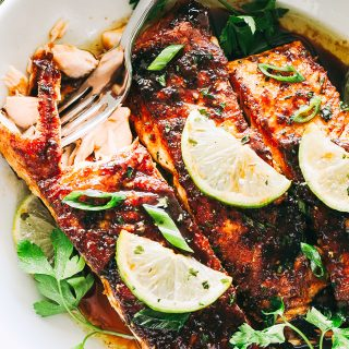 Brown Sugar Glazed Salmon Recipe - Crispy on the outside, tender on the inside, this sweet and tangy salmon recipe is an easy weeknight meal that will quickly have everyone coming back for seconds.