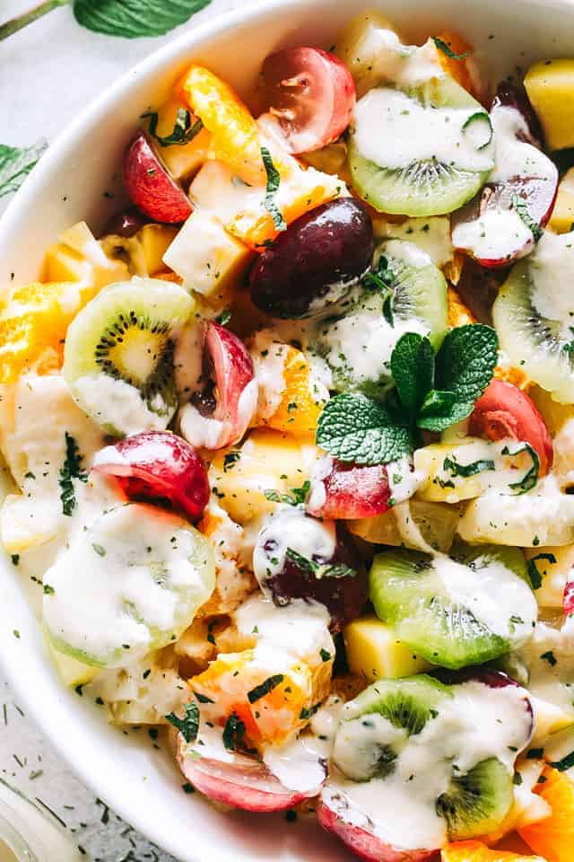 Rainbow Fruit Salad Recipe with Honey Orange Yogurt Dressing