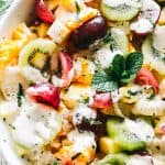 Rainbow Fruit Salad with Honey Orange Yogurt Dressing