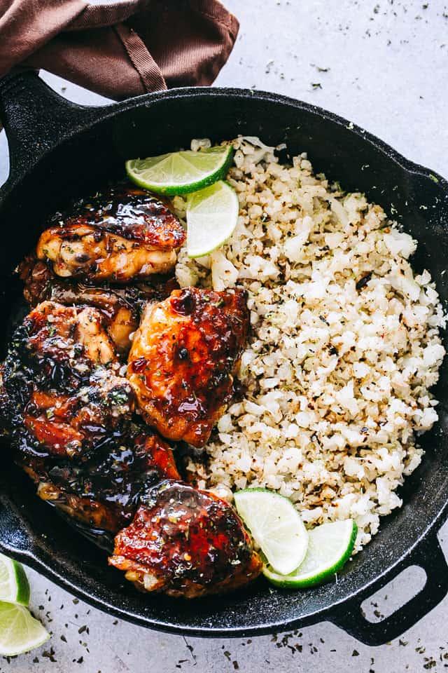 Honey Sriracha Chicken with Cauliflower Rice Recipe