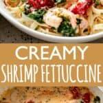 creamy shrimp fettuccine pinterest image