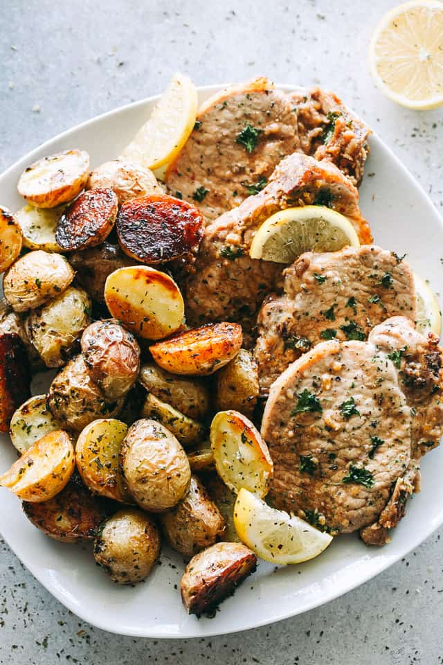 baked pork chops, roasted potatoes, sheet pan dinner recipe