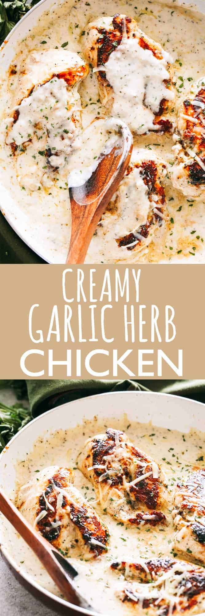 Pan-seared chicken breasts prepared with a creamy, garlicky herb sauce. Flavorful, quick weeknight dinner prepared in one pan and in 30 minutes! #chicken #chickendinner #chickenbreasts