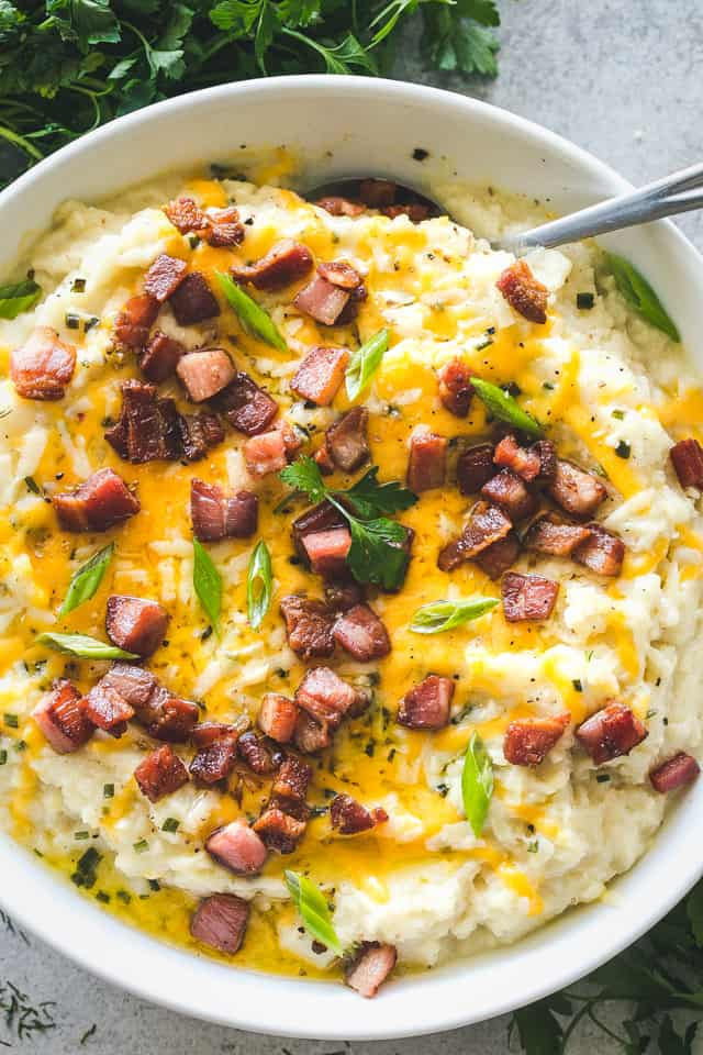 Instant Pot Mashed Cauliflower, bacon, cheese