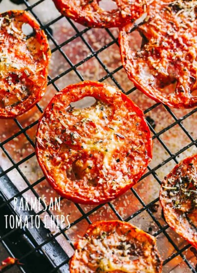 Parmesan Tomato Chips Recipe - Turn ordinary tomatoes into sweet, crispy tomato chips bursting with delicious flavors. No fryer or dehydrator necessary for these cheesy tomato chips!