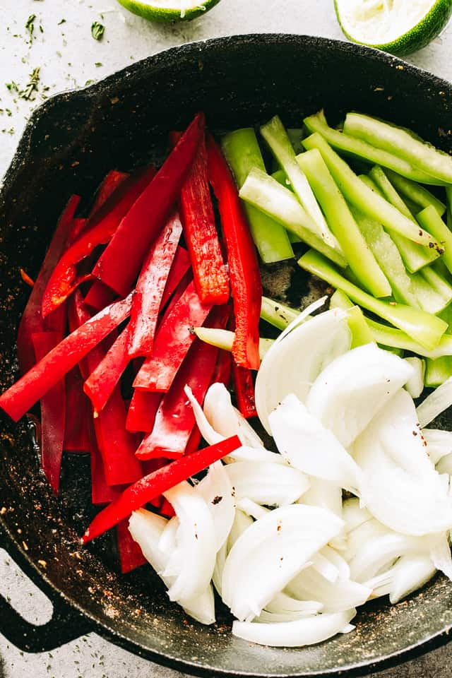 Skillet Fajitas, bell peppers, onions