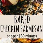Pinterest image for baked chicken parmesan.