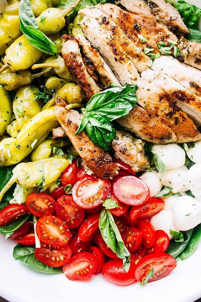Antipasto Salad with Grilled Chicken & Pesto Vinaigrette   Keto Lunch Idea