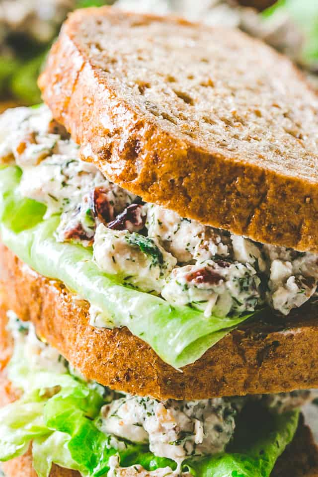 Creamy Dill Chicken Salad with Nuts and Cranberries - Easy, delicious, and wonderfully creamy chicken salad packed with nuts and cranberries mixed in a zesty blend of yogurt, mayo, and dill.