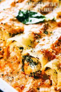 Creamy Ricotta Spinach and Chicken Cannelloni Pasta Recipe