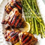 Grilled Chicken Thighs with Brown Sugar Glaze - Juicy, savory-sweet brown sugar glazed chicken thighs grilled to a tender perfection!