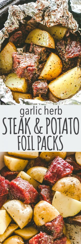 Garlic Herb Steak and Potato Foil Packs -DELICIOUS Steak and potatoes seasoned with garlic and herbs and cooked inside foil packets. They can be cooked on the grill OR in the oven, and are perfect for a family dinner or a backyard get-together.