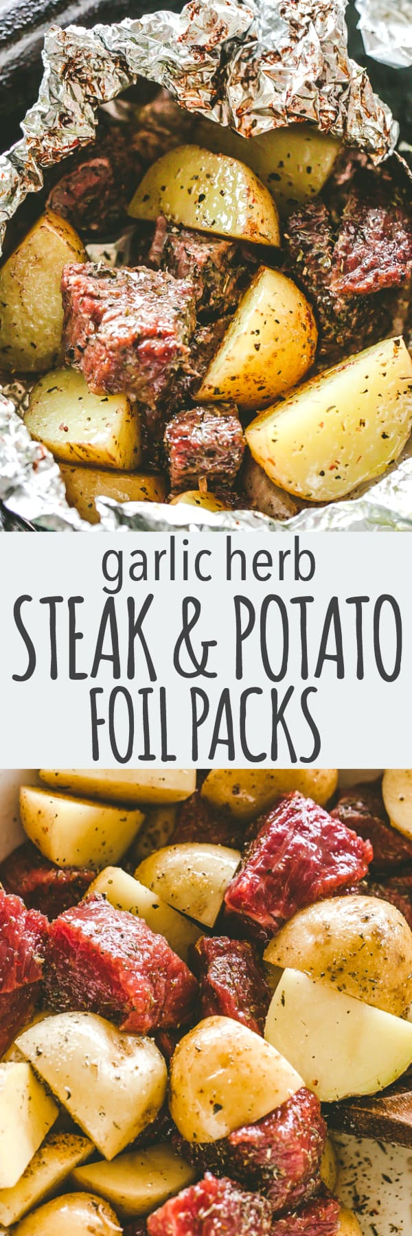 Garlic Herb Steak and Potato Foil Packs - DELICIOUS Steak and potatoes seasoned with garlic and herbs and cooked inside foil packets. They can be cooked on the grill OR in the oven, and are perfect for a family dinner or a backyard get-together.