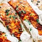 Pan Seared Salmon + Lemon Garlic Cream Sauce | Easy Salmon Recipe