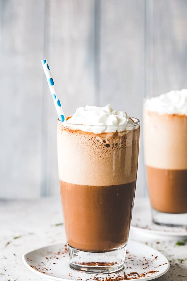 Frappe Recipe - A delicious iced-coffee beverage prepared with espresso and milk. Our rich and creamy homemade version is super easy to make and it tastes thousand times better!