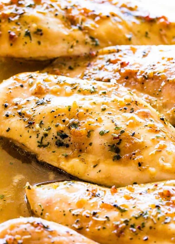 Garlic Brown Sugar Baked Chicken - Juicy, beyond DELICIOUS oven baked chicken breasts full of flavor with just a handful of ingredients and on the table in 30 minutes!