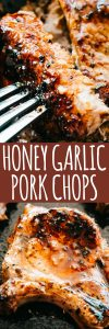 Honey Garlic Baked Pork Chops - Incredibly tender and super juicy pork chops coated in a sticky honey garlic sauce and baked to a delicious perfection. If you're looking for an amazing boneless baked pork chops recipe, this is it!