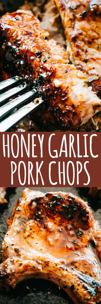 Honey Garlic Baked Pork Chops - Incredibly tender and super juicy pork chops coated in a sticky honey garlic sauce and baked to a delicious perfection.If you're looking for an amazing boneless bakedpork chopsrecipe, this is it!