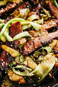 Steak Stir Fry with Zucchini Noodles - Intensely flavorful and wonderfully delicious Stir Fry Steak and Zucchini Noodles prepared in just one pan for a quick low carb meal that you'll go back to again and again!