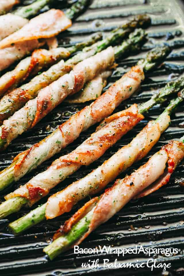 Bacon Wrapped Asparagus with Balsamic Glaze – Crispy roasted asparagus spears wrapped in bacon and brushed with a sweet balsamic and brown sugar glaze.